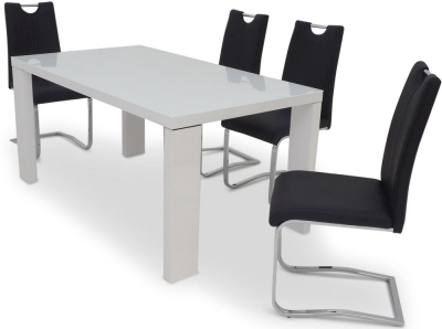 Lucca White High Gloss Dining Table and 4 Gabi Black Chairs