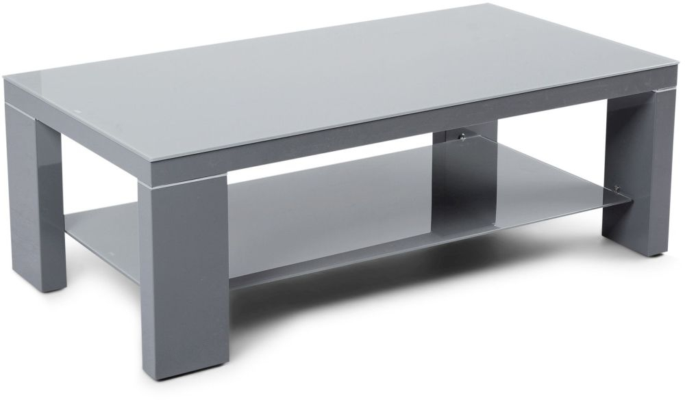 Lucca Grey High Gloss Coffee Table with Glass Top