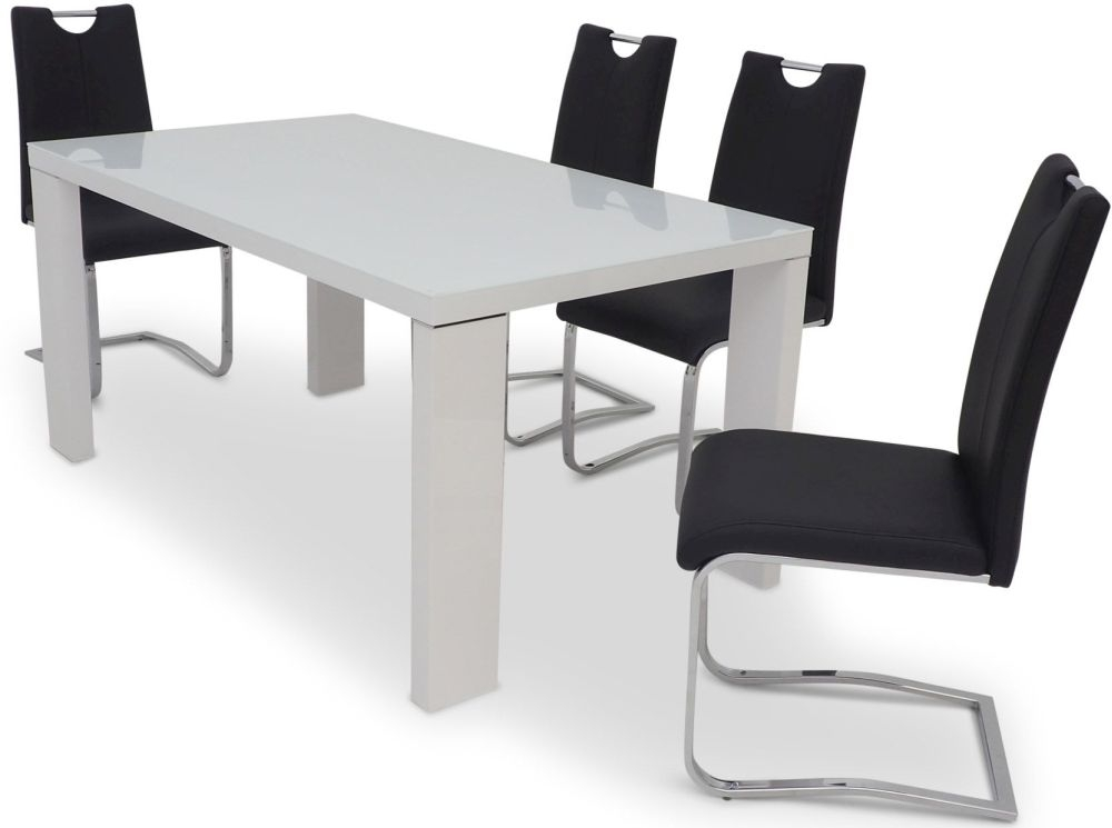 Lucca White High Gloss Dining Table And 4 Gabi Black Chairs Cfs Furniture Uk