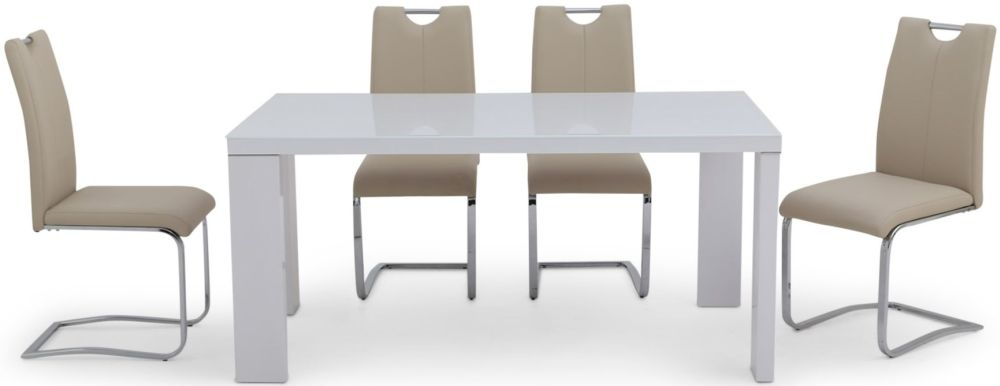 Lucca White High Gloss Dining Set with Glass Top - 160cm Rectangular with 4 Gabi Taupe Chairs