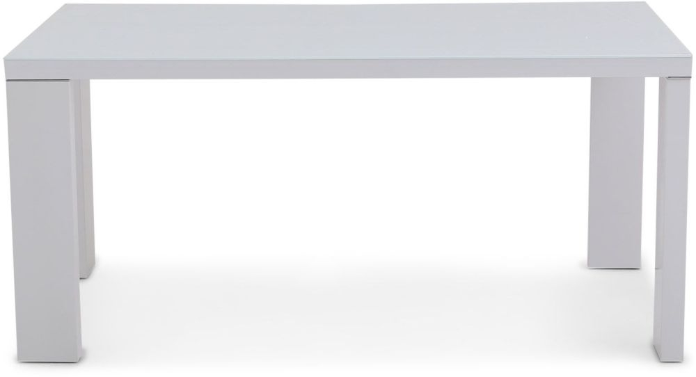 Lucca White High Gloss Dining Table with Glass Top - 160cm Rectangular
