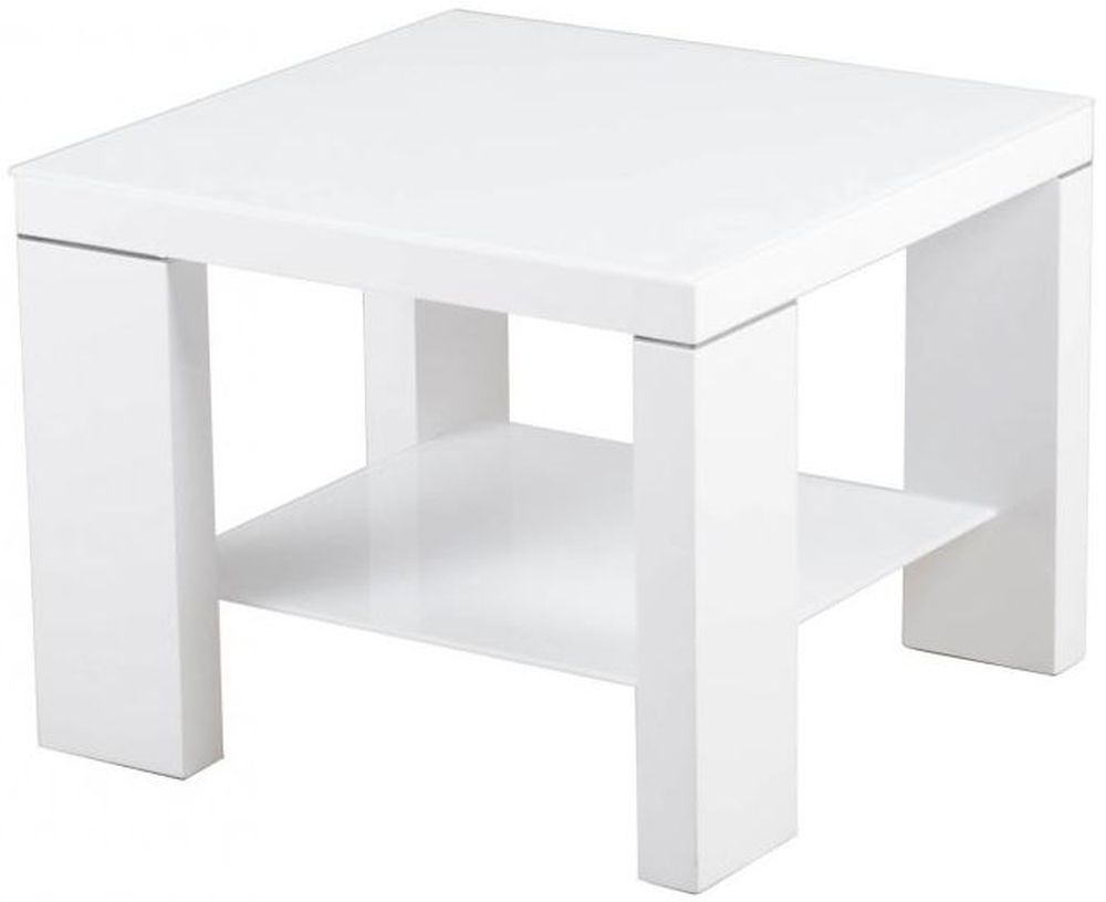 Lucca White High Gloss Side Table