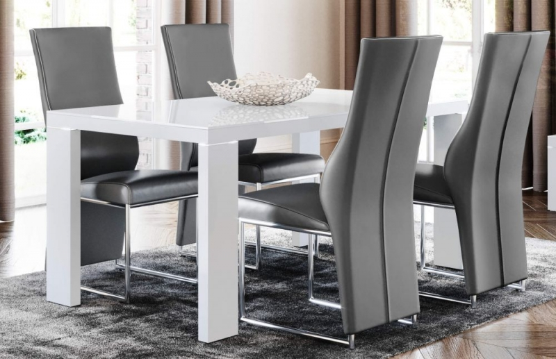 Lucca White High Gloss Glass Top Dining Table and 4 Remo Grey Chairs