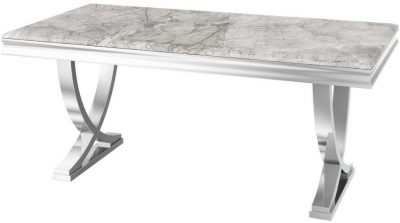 Maria Light Grey Marble Dining Table