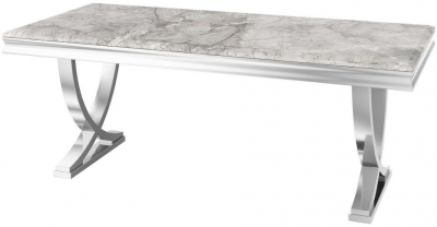 Maria Light Grey Marble Large Dining Table