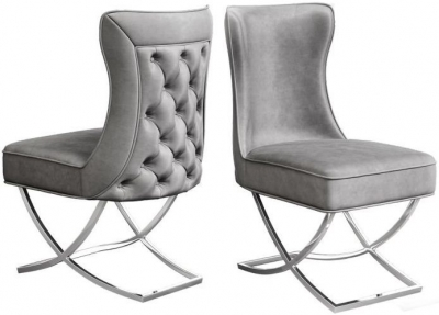 Maria Silver Grey Velvet Dining Chair (Pair)