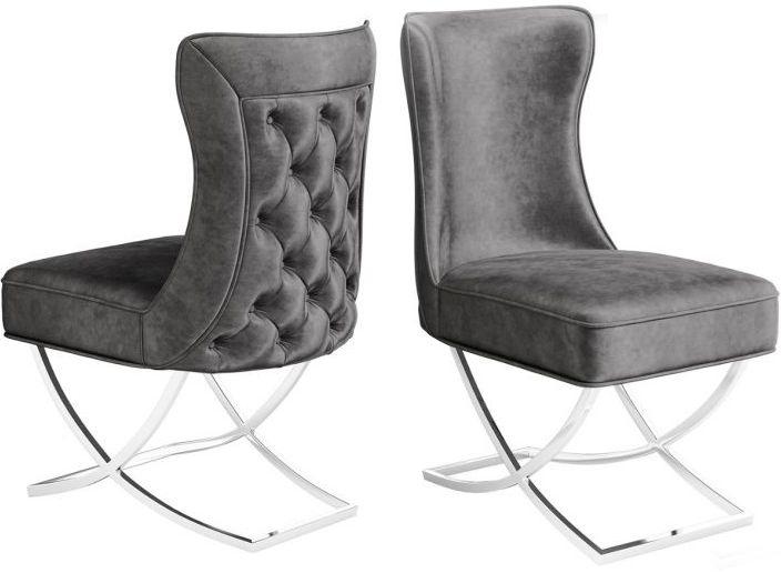 Maria Dark Grey Velvet Dining Chair (Pair)