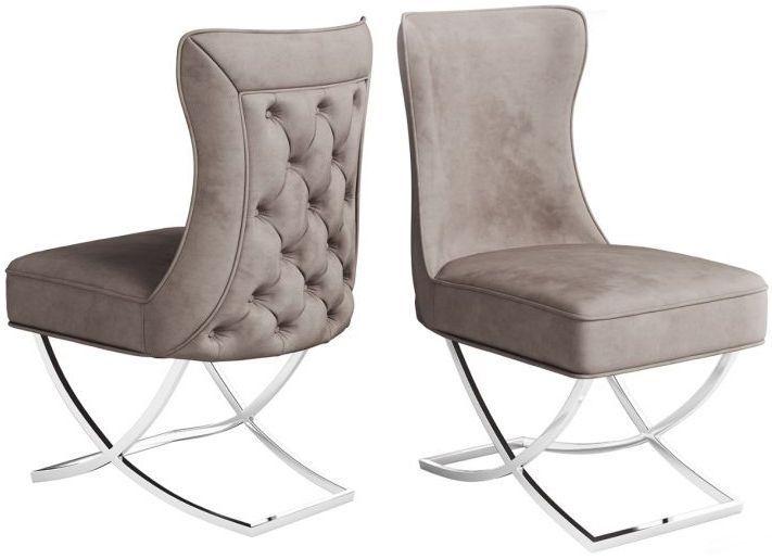 Maria Mink Velvet Dining Chair (Pair)