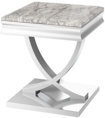 Maria Light Grey Marble Side Table