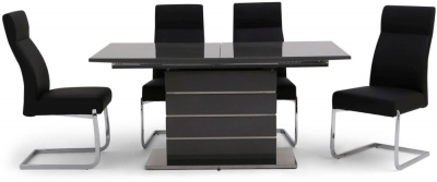 Massimo Grey High Gloss Butterfly Extending Dining Table and 4 Dante Black Chairs