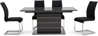 Massimo Grey High Gloss Butterfly Extending Dining Table and 4 Paolo Black Chairs