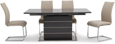 Massimo Grey High Gloss Butterfly Extending Dining Table and 4 Paolo Cream Chairs