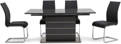 Massimo Grey High Gloss Butterfly Extending Dining Table and 4 Paolo Grey Chairs