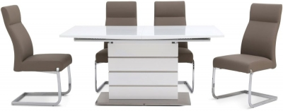 Massimo Grey High Gloss Butterfly Extending Dining Table and 4 Dante Taupe Chairs