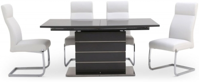 Massimo Grey High Gloss Butterfly Extending Dining Table and 4 Dante White Chairs