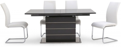 Massimo Grey High Gloss Butterfly Extending Dining Table and 4 Paolo White Chairs