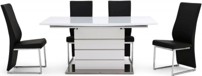 Massimo White High Gloss Butterfly Extending Dining Table and 4 Remo Black Chairs