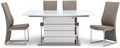 Massimo White High Gloss Butterfly Extending Dining Table and 4 Remo Taupe Chairs