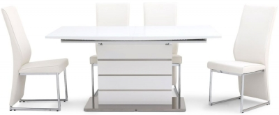 Massimo White High Gloss Butterfly Extending Dining Table and 4 Remo White Chairs