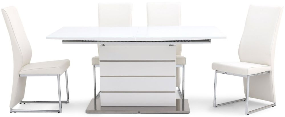 Massimo White High Gloss Dining Set with Glass Top - 160cm-220cm Rectangular Extending with 4 Remo White Chairs