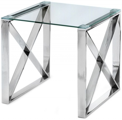 Maxi Side Table - Glass and Chrome