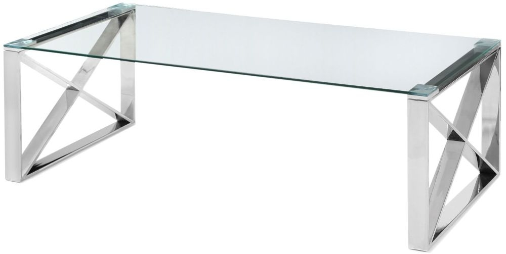 Maxi Glass Coffee Table with Stainless Steel Frame