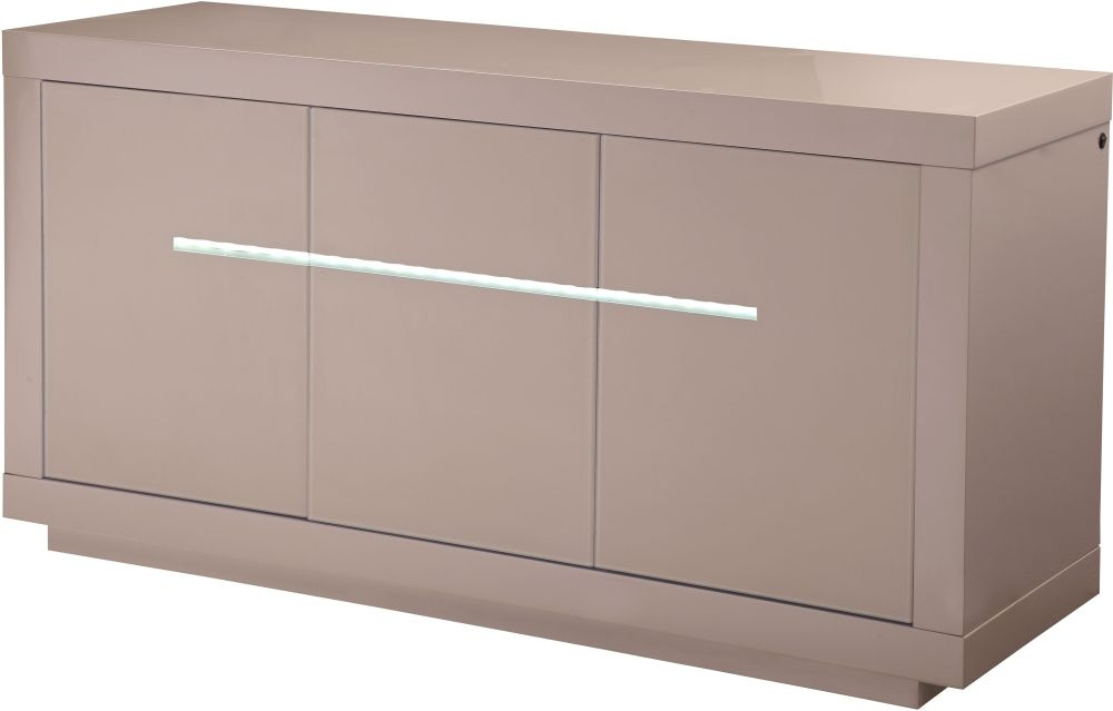 Monte Carlo Cream High Gloss Sideboard with LED - Large Wide 3 Door