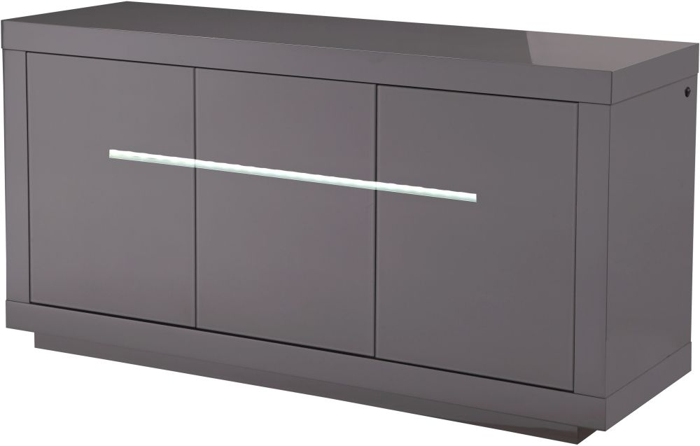 Monte Carlo Grey High Gloss Sideboard with LED - Large Wide 3 Door