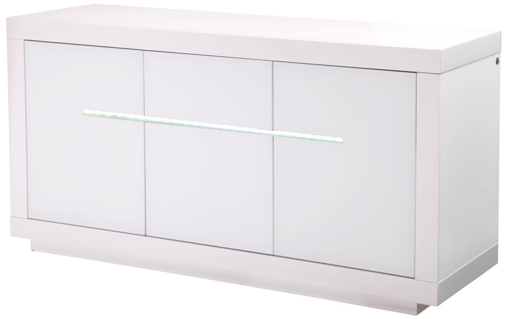 Monte Carlo White High Gloss Sideboard with LED - Large Wide 3 Door