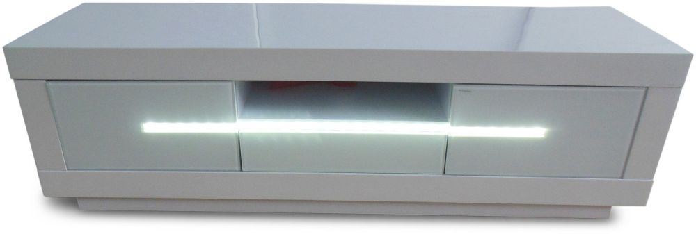 Monte Carlo White High Gloss Tv Unit with LED - 2 Door