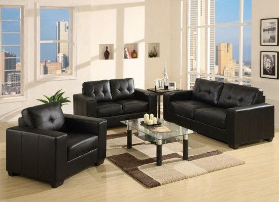 Naples Black Leather 2 Seater Sofa