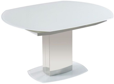 Olivia White Glass Rectangular Extending Dining Table