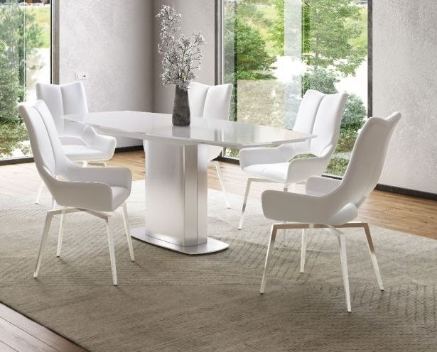 Olivia White Glass Top Extending Dining Table and 4 Spinello White Chairs
