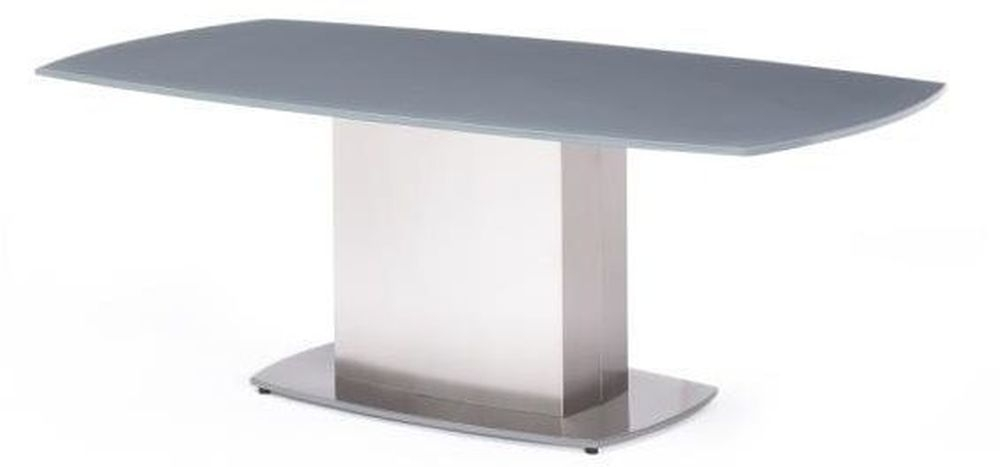 Olivia Grey Glass Coffee Table with Stainless Steel Base