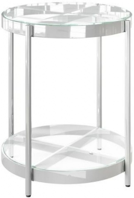 Omari Glass and Chrome Side Table