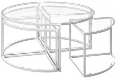 Omari Grande Glass and Chrome Coffee Table Set