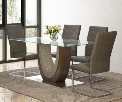 Oscar Glass and Walnut Dining Table with 4 Diego Taupe Chairs