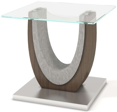 Oscar Side Table - Walnut and Glass
