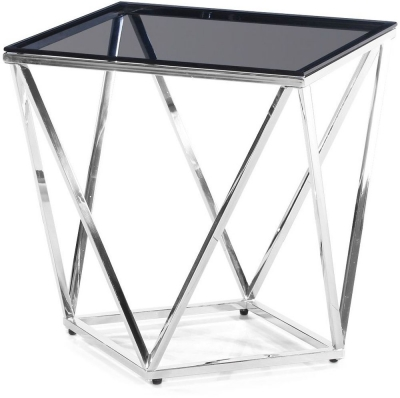 Pirlo Side Table - Smoked Glass and Chrome