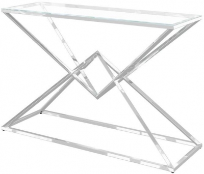 Prism Glass and Chrome Console Table