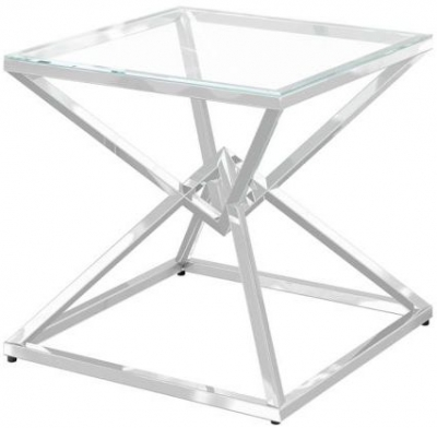 Prism Glass and Chrome Side Table