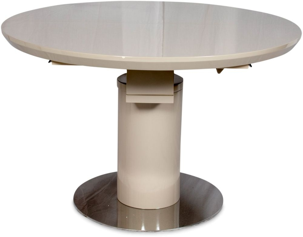 Romeo Cream High Gloss Dining Table - 120cm-160cm Round Extending
