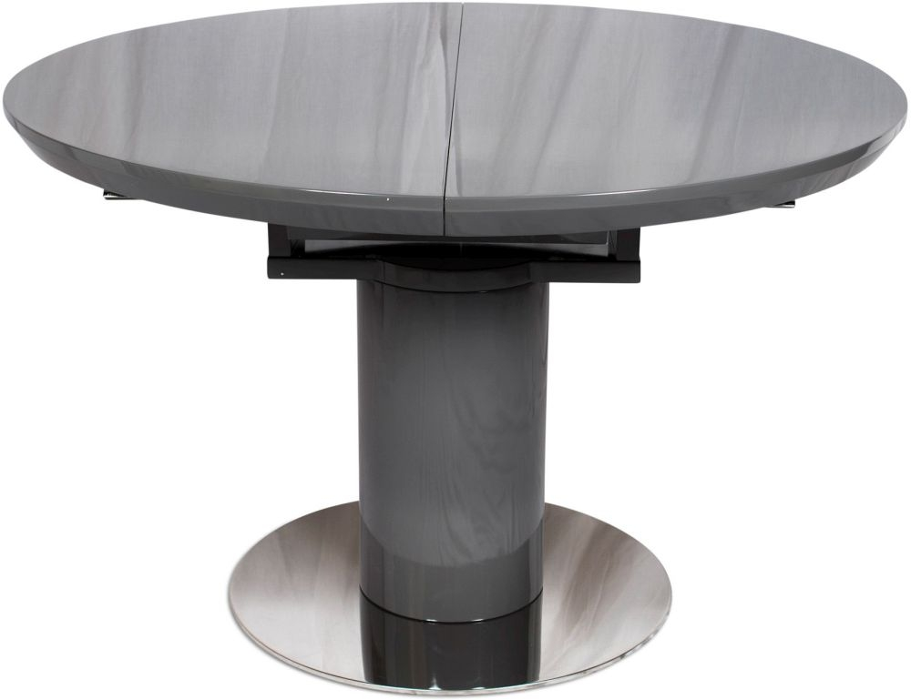 Romeo Grey High Gloss Dining Table - 120cm-160cm Round Extending