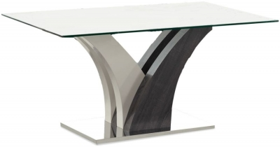Salvador Grey High Gloss Glass Top Dining Table