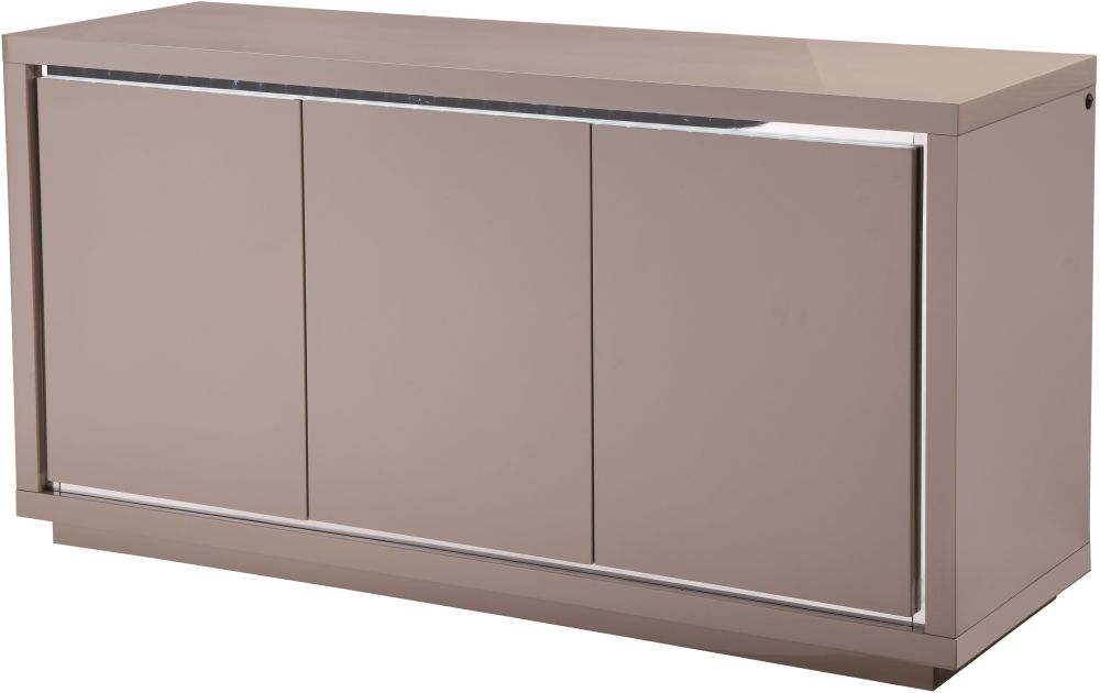 Sardinia Cream High Gloss Sideboard with LED - Large Wide 3 Door