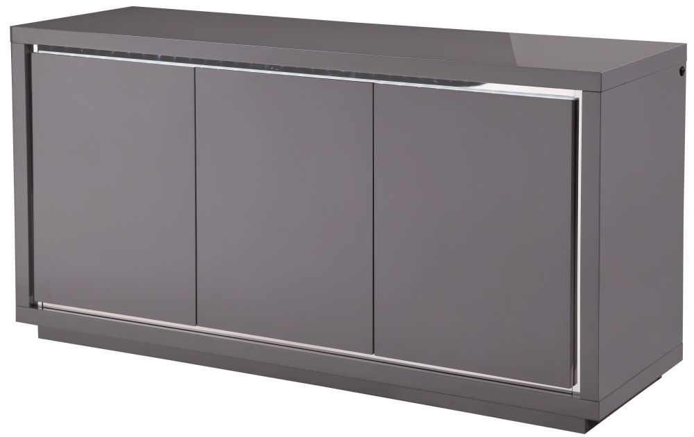 Sardinia Grey High Gloss Sideboard with LED - Large Wide 3 Door