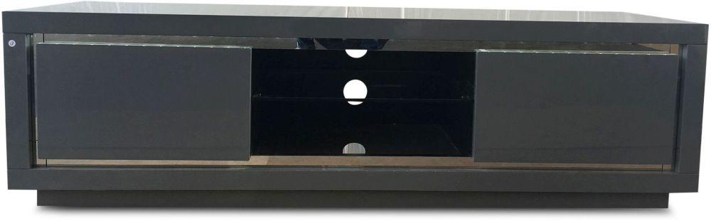 Sardinia Grey High Gloss Tv Unit with LED - 2 Door