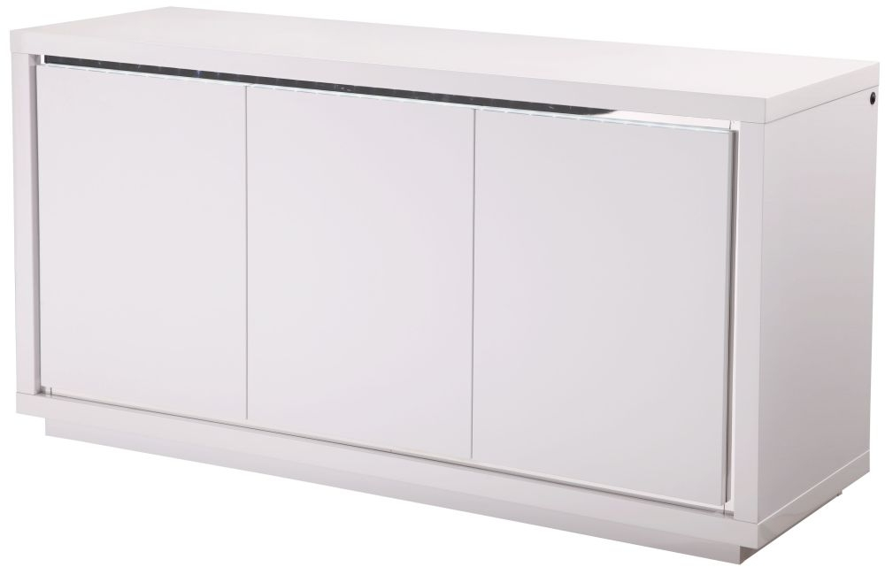 Sardinia White High Gloss Sideboard with LED - Large Wide 3 Door