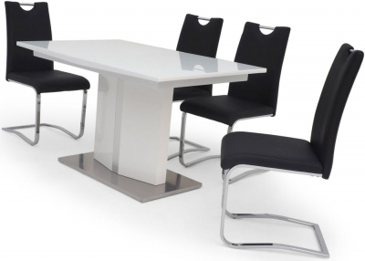Silvio White High Gloss Butterfly Extending Dining Table and 4 Gabi Black Chairs
