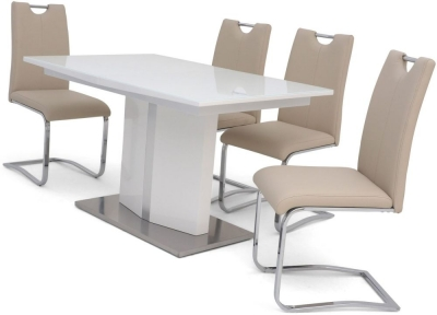 Silvio White High Gloss Butterfly Extending Dining Table and 4 Gabi Cream Chairs